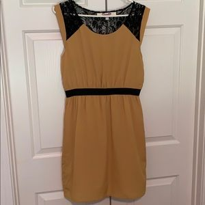 Golden Dress with Black Lace Back